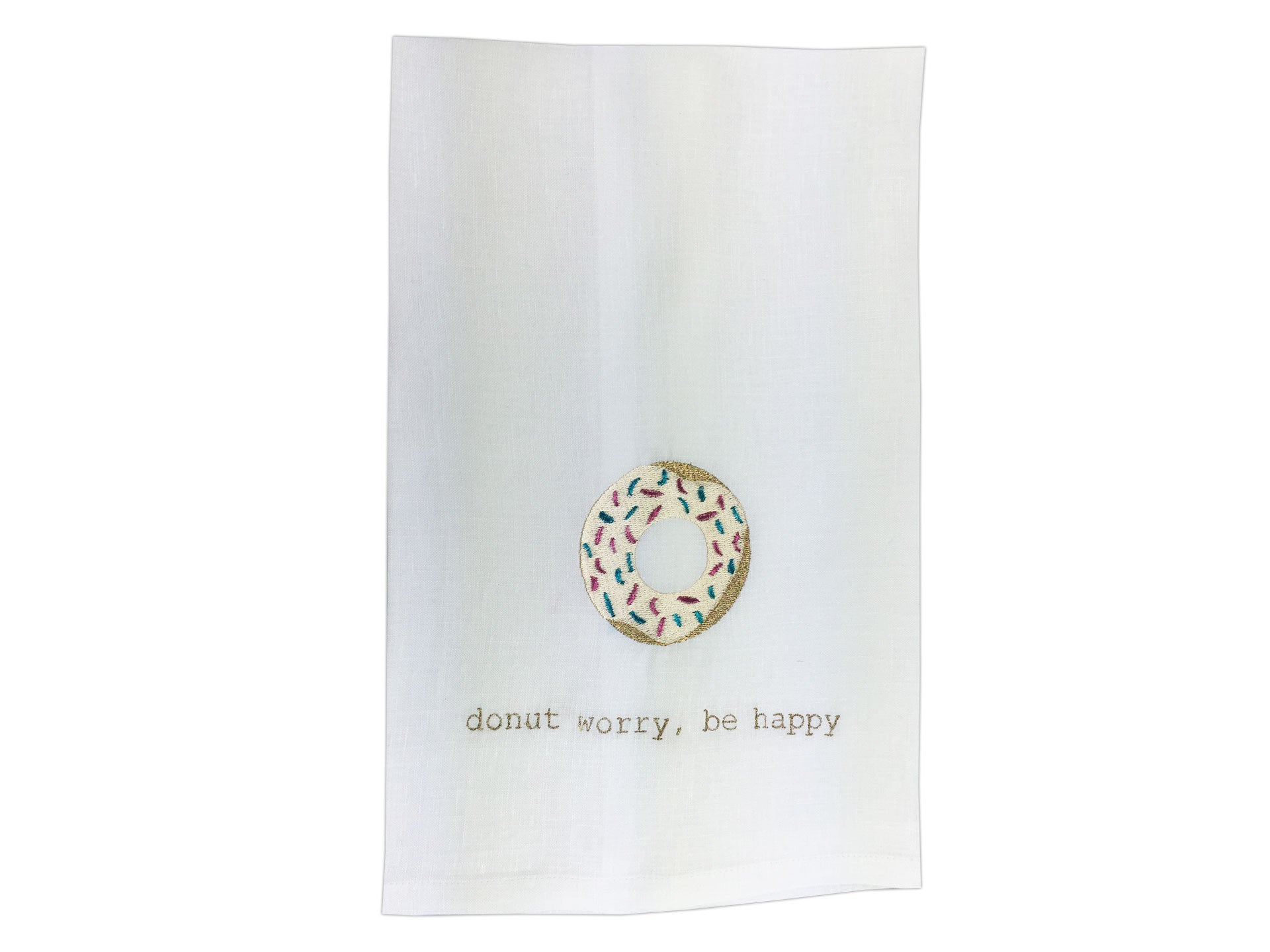 Donut Worry Tea Towel White