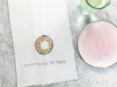 Donut Worry Tea Towel with Anthropologie Plates