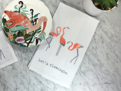 Flamingo Tea Towels with Anthrologie Plates Style Shot