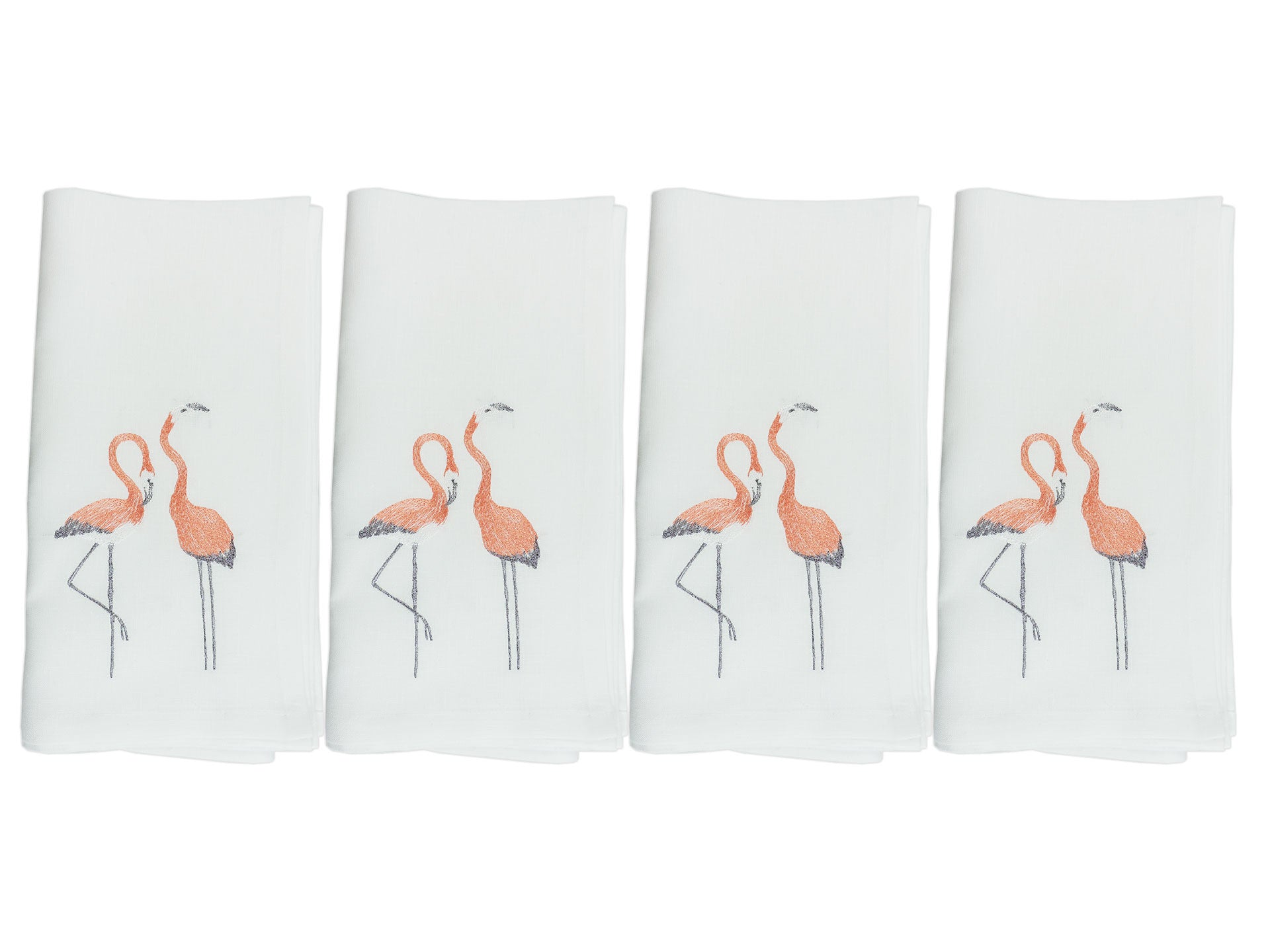 Flamingo Napkin Set White
