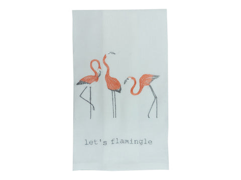 Let's Flamingle Tea Towel White