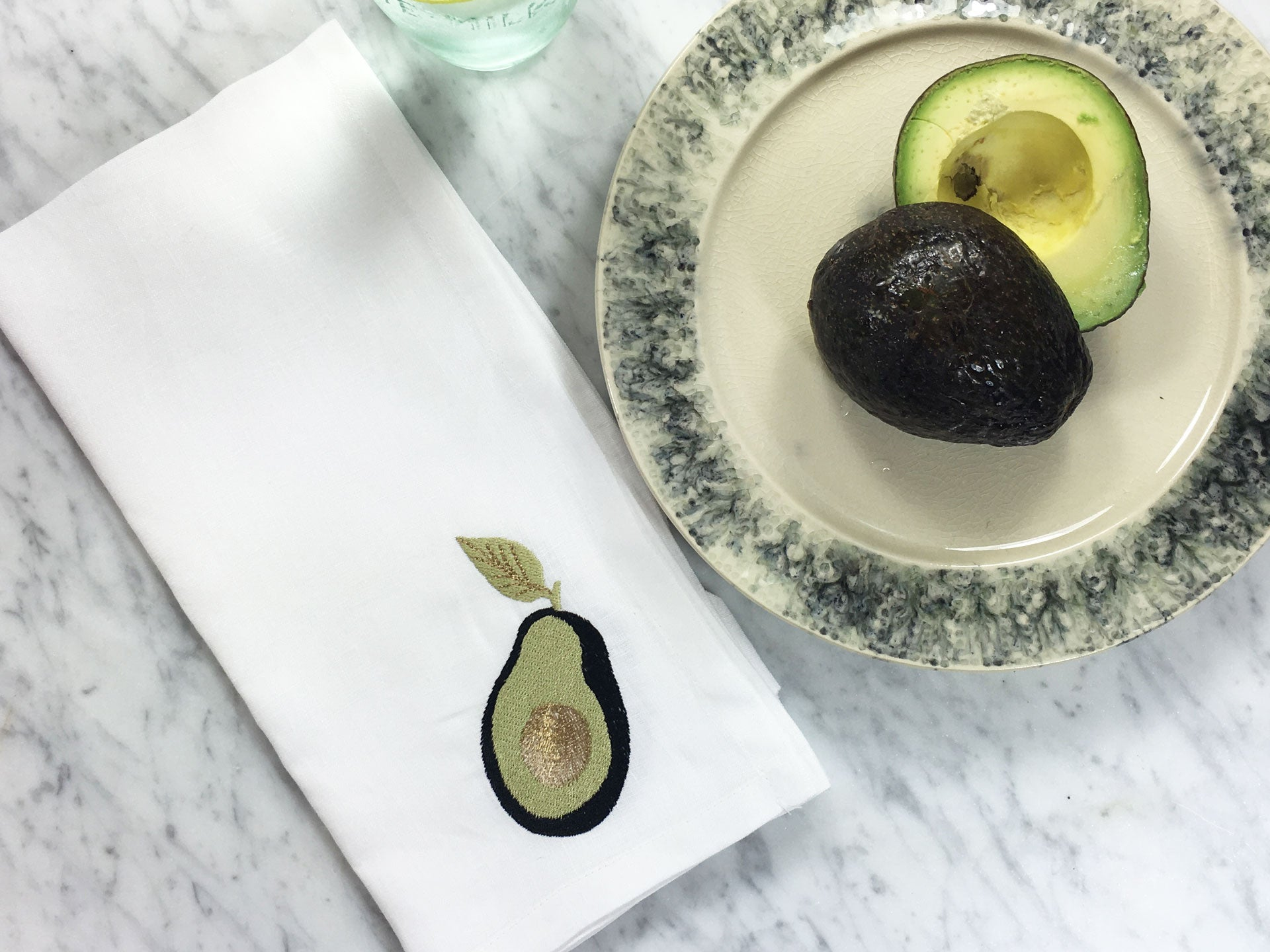 Grab That Hass Napkin with Anthropologie Plate and Avocado