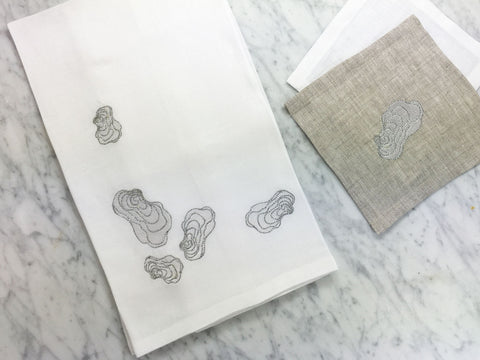 Oyster Tea Towels with Cocktail Squares