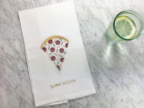 Home Slice Pizza Tea Towel with Anthropologie Glass