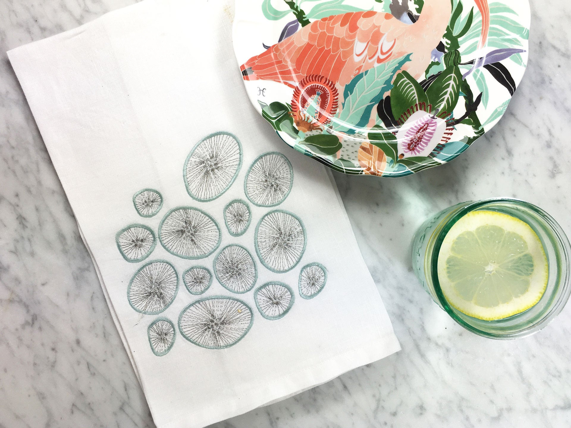 Kiwi Berry Tea Towel with Anthropologie Plates