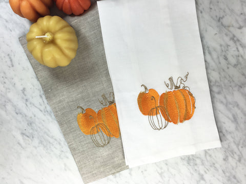 Pumpkin Spice Tea Towel White and Oat