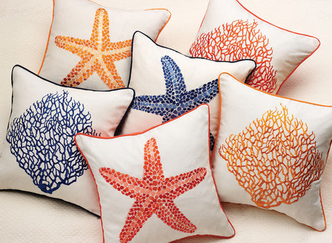 Starfish and Sea Fan Decorative Pillows