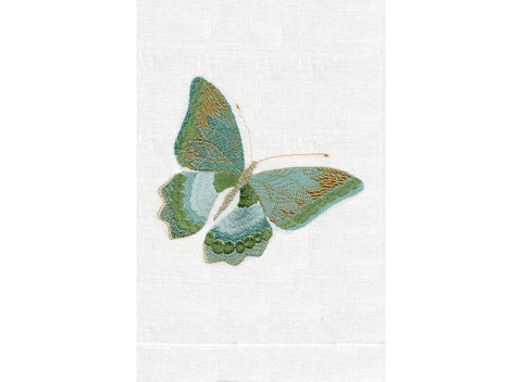 Butterfly ONE in Aqua on white linen