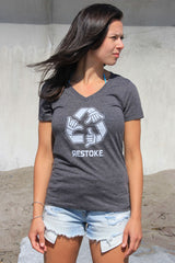 Womens Vneck Charcoal Tee