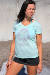 Womens Vneck Mint Tee