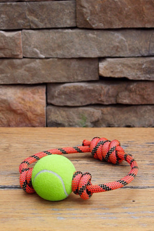 Rope & Tennis Ball Toy // ORANGE