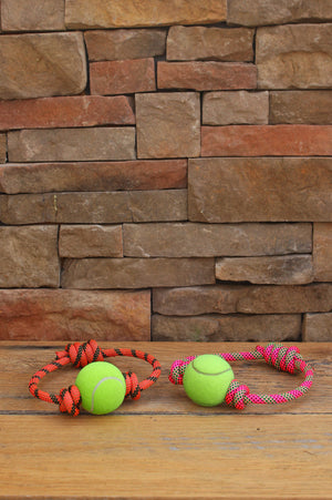 Rope & Tennis Ball Toy // PINK