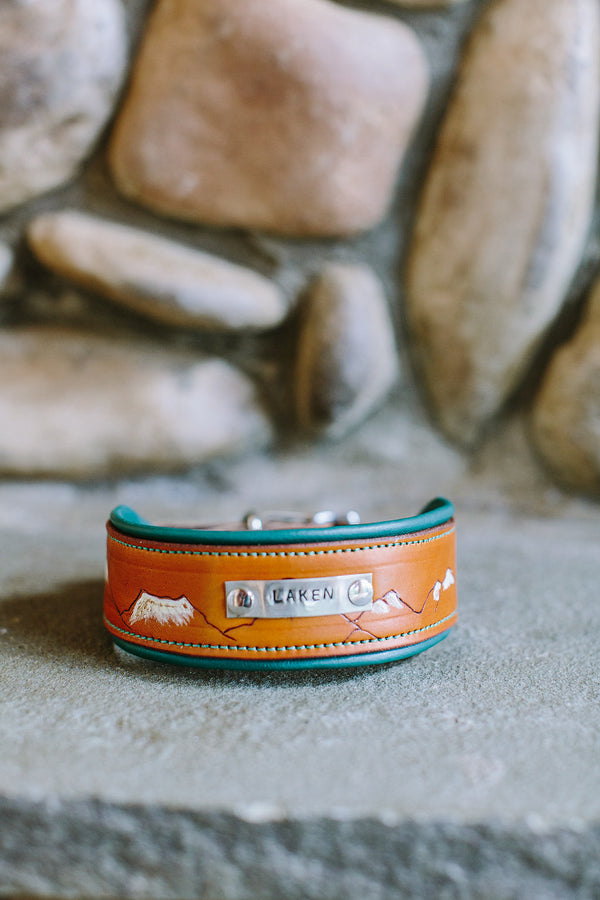 The North Cascades Leather Dog Collar