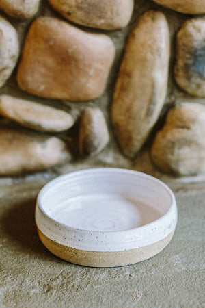 White and Clay Ceramic Dog Bowl