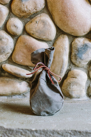Waxed Canvas Kibble Carrier Bag // CHOCOLATE