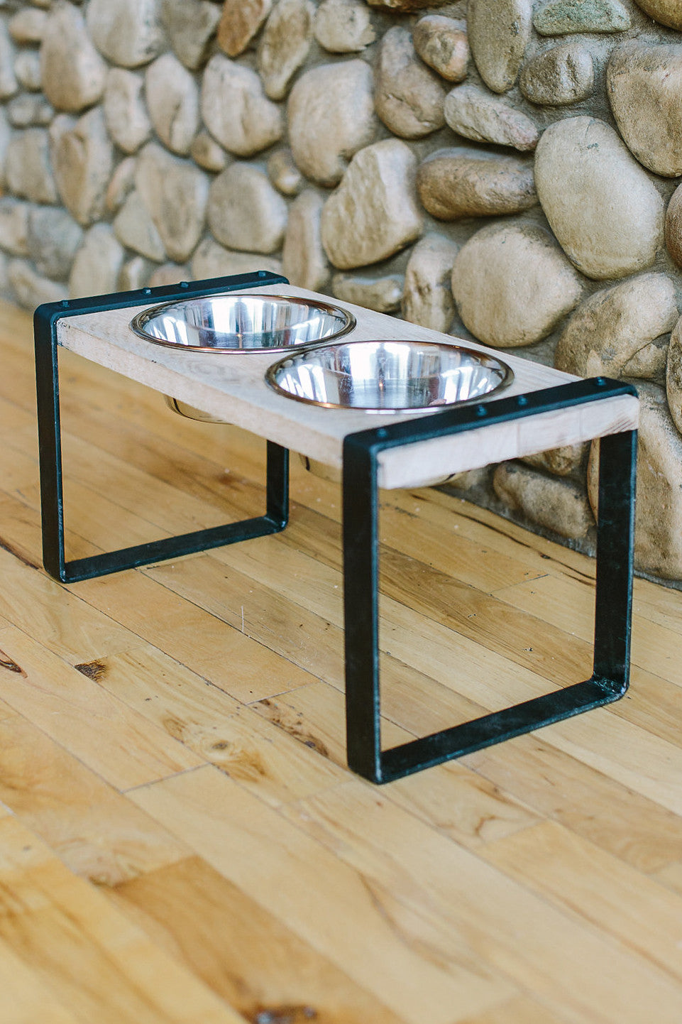 Rustic Elevated Dog Feeder Stand Double Wild Hound