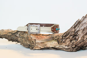 Turquoise, Cream and Floral Leather Dog Collar// Extra Wide