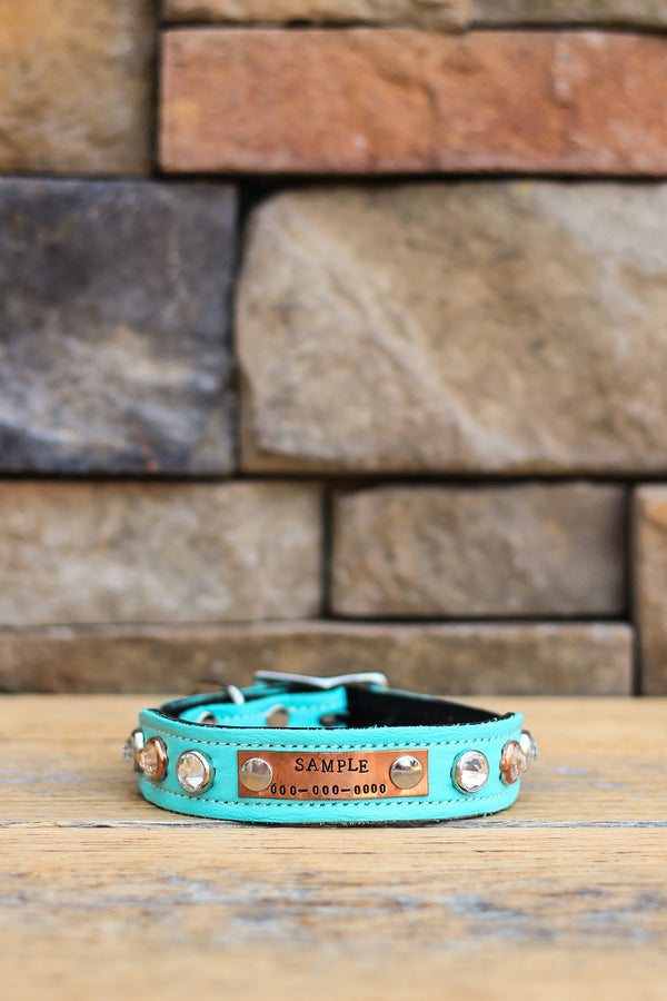 Moonlight Sparkle Leather Dog Collar