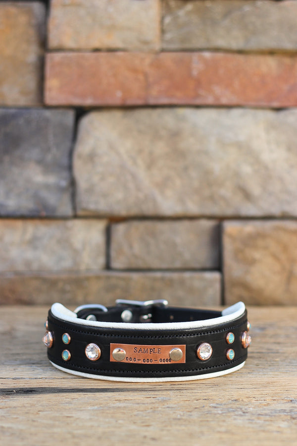 Midnight Glitz Leather Dog Collar