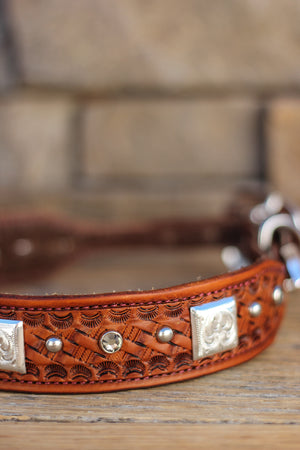 Basketweave and Silver Leather Dog Collar