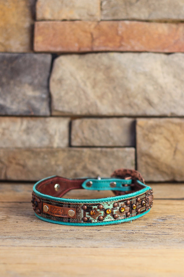 The Flagstaff Leather Dog Collar