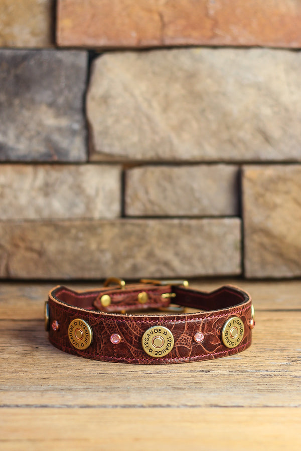 Rustic Shotgun Shell & Crystal Leather Dog Collar