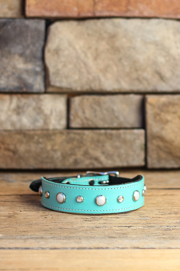 Moonlight Pearls Leather Dog Collar
