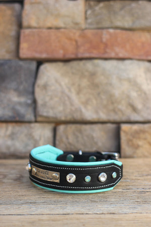 Midnight Shimmer Leather Dog Collar