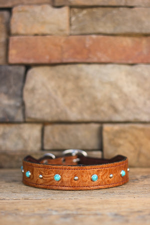 Turquoise and Floral Leather Dog Collar