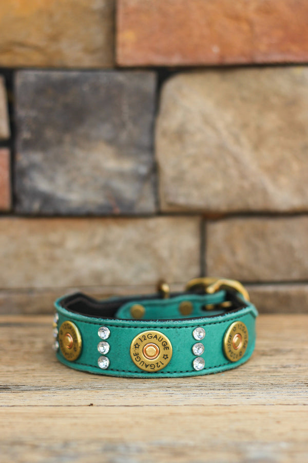 Shotgun Shells & Crystals Leather Dog Collar