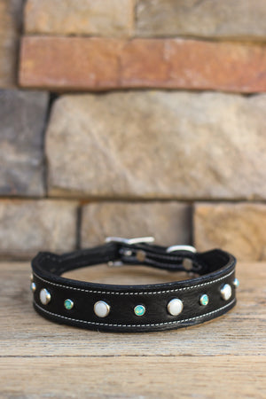 Midnight Pearls Leather Dog Collar