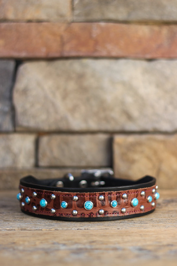 Turquoise and Croc Leather Dog Collar