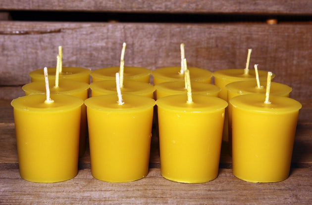 Beeswax Candles - 100% Pure Beeswax Votive Candles -- 12 Pack -- Free Shipping - American Broom Shop