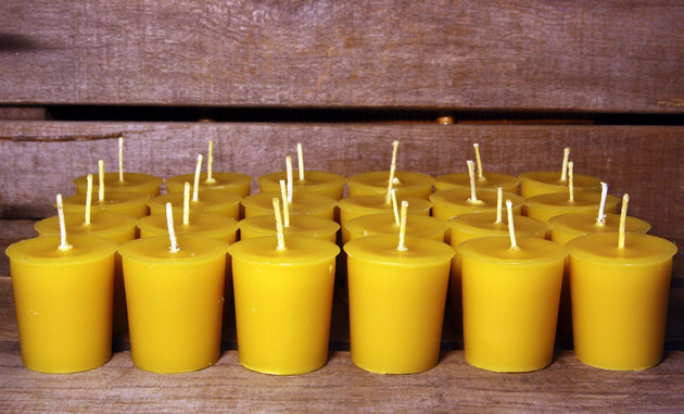 Beeswax Candles - 100% Pure Beeswax Votive Candles -- 48 Pack  -- Large 2 oz. Votives -- Free Shipping - American Broom Shop
