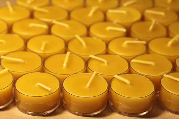 Beeswax Candles - 100% Pure Beeswax Tealights -- 24 Pack -- Free Shipping - American Broom Shop