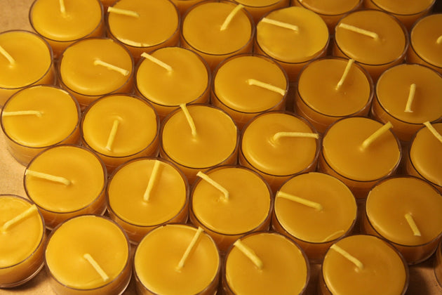 Beeswax Candles - 100% Pure Beeswax Tealight Candles -- 50 Pack -- Free Shipping - American Broom Shop