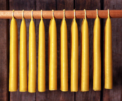 Beeswax Candles - Hand Dipped 100% Beeswax Tapers Settler's Candles - 6 Count - Free Shipping