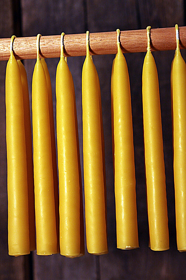Beeswax Candles - Hand Dipped 100% Beeswax Tapers Settler's Candles - 6 Count - Free Shipping - American Broom Shop