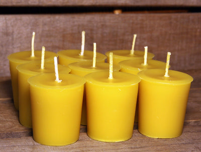 Beeswax Candle Sample Pack - 6 Votives - 1 Pair Tapers - 100% Pure Beeswax -- Free Shipping