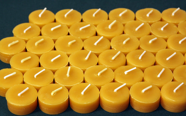 Beeswax Candles - 100% Pure Beeswax Tealight Refills -- 24 Pack Refills without the Cups! -- Free Shipping - American Broom Shop