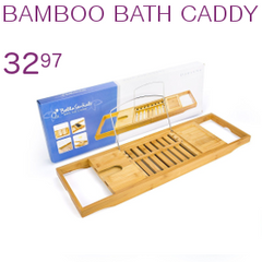 BELLASENTIALS BAMBOO BATHTUB CADDY WITH EXTENDING SIDES AND ADJUSTABLE BOOK HOLDER FOR A CUSTOMIZED FIT, PERFECT FOR ALL TUBS