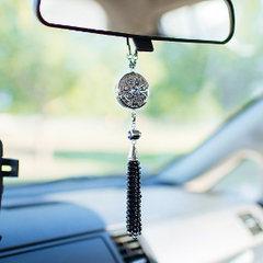 BELLASENTIALS AROMATHERAPY CAR ESSENTIAL OIL DIFFUSER AIR FRESHENER CHARM WITH BLACK AGATE TASSEL