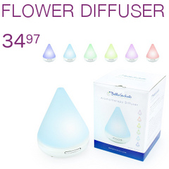 ULTRASONIC AROMATHERAPY DIFFUSER, 7 DIFFERENT CHANGING LED LIGHTS, COMES IN WHITE