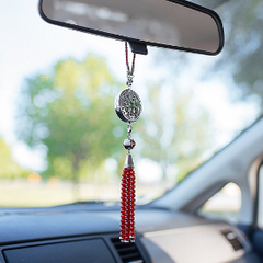 BELLASENTIALS AROMATHERAPY CAR ESSENTIAL OIL DIFFUSER AIR FRESHENER CHARM WITH RED AGATE TASSEL