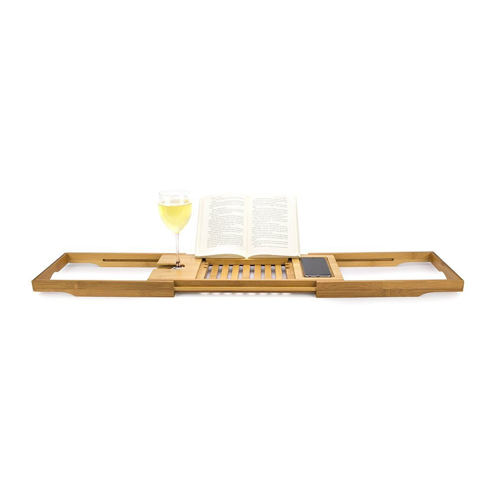 - Bellasentials Bamboo Bathtub Caddy with Extending Sides and Adjustable Book Holder for a Customized Fit, Perfect for All Tubs
