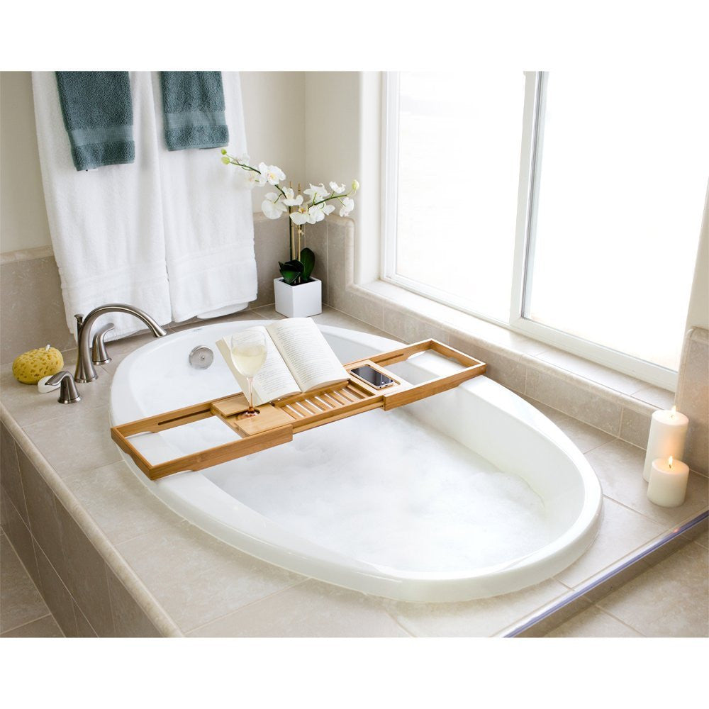 Bellasentials Bamboo Bathtub Caddy with Extending Sides and Adjustab ...