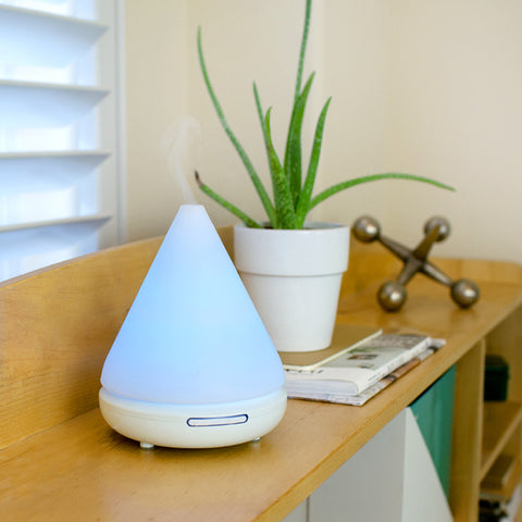- Ultrasonic Aromatherapy Diffuser, 7 Different Changing LED Lights, Comes in White
