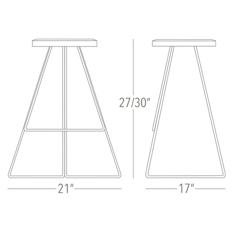 Coleman Stool - Counter and Bar Height - Dimensions - Greta de Parry