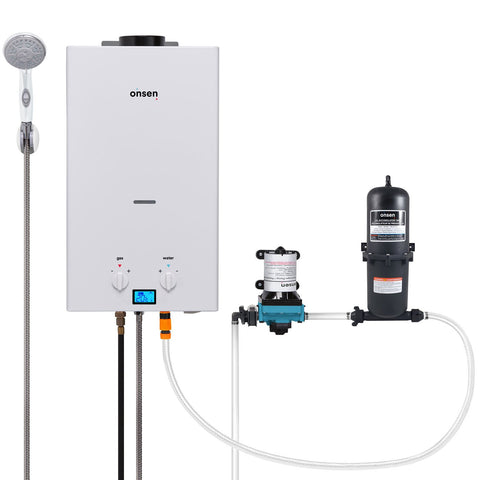 Onsen 10L Portable Propane Water Heater with 12V Pump & Accumulator