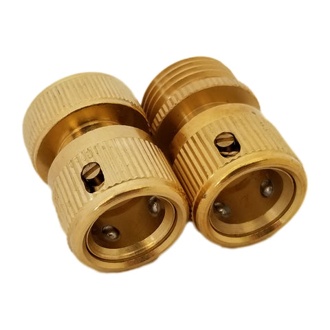 "2 Pcs Hose 3/4"" Brass Quick Connectors"